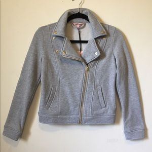 Juicy Couture Heather Gray Knit Moto Jacket XS NEW